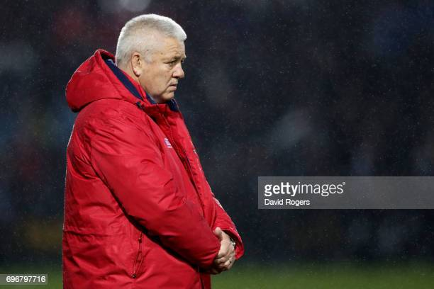 Warren Gatland the head coach of the Lions looks on during the 2017 British Irish Lions tour match between the Maori All Blacks and the British Irish...