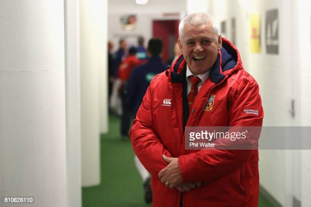 Warren Gatland the head coach of the Lions looks on during the third Test match between the New Zealand All Blacks and the British Irish Lions at...