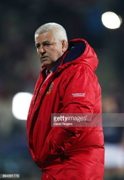 Warren Gatland the head coach of the Lions looks on prior to kickoff during the 2017 British Irish Lions tour match between the Crusaders and the...