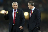 Warren Gatland the Head Coach of Wales alongside Assistant coach Rob Howley during the RBS Six Nations match between Wales and France at the...