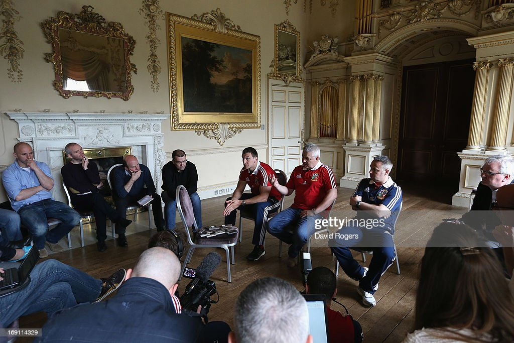 Warren Gatland (R) the Lions head coach and Sam Warburton, the Lions captain face the media during the British and Irish Lions media session held at Carton House on May 20, 2013 in Maynooth, Ireland.