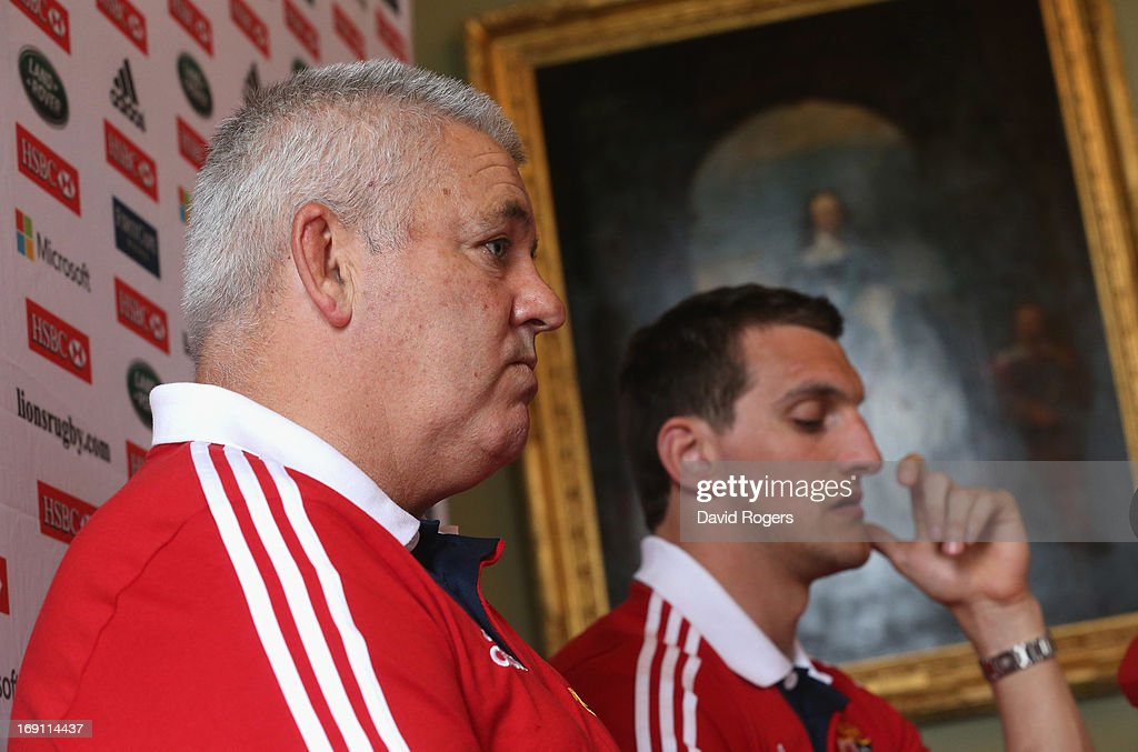 Warren Gatland (L) the Lions head coach and Sam Warburton, the Lions captain face the media during the British and Irish Lions media session held at Carton House on May 20, 2013 in Maynooth, Ireland.