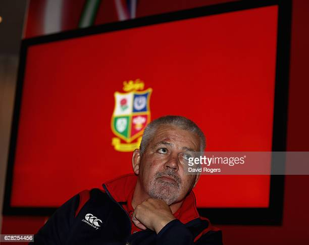 Warren Gatland the Lions head coach faces the media during the 2017 British Irish Lions Coaching Team Announcement held at Carton House Hotel on...