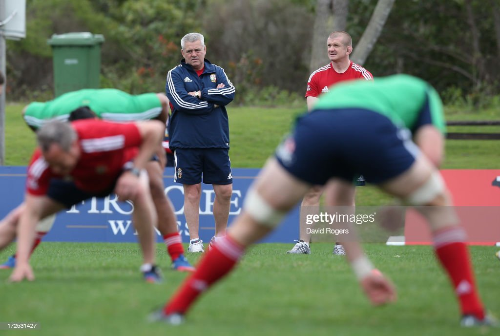 Warren Gatland, the Lions head coach looks on during a British & Irish Lions training session held at the Noosa Dolphins Rugby Club on July 3, 2013 in Noosa, Australia.