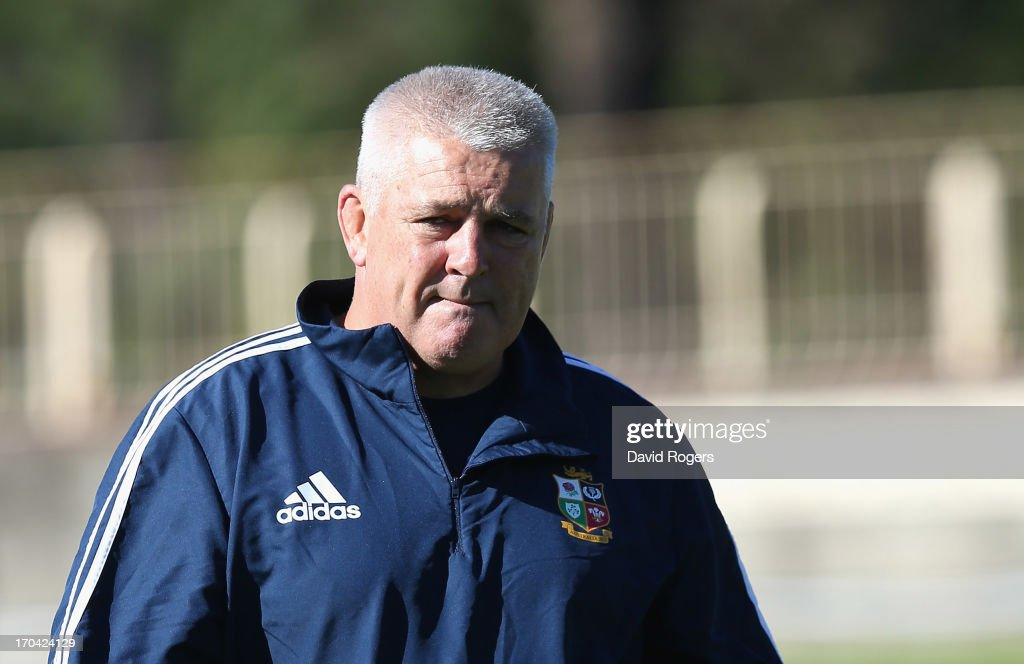 <a gi-track='captionPersonalityLinkClicked' href=/galleries/search?phrase=Warren+Gatland&family=editorial&specificpeople=686626 ng-click='$event.stopPropagation()'>Warren Gatland</a>, the Lions head coach, looks on during the British and Irish Lions training session at North Sydney Oval on June 13, 2013 in Sydney, Australia.