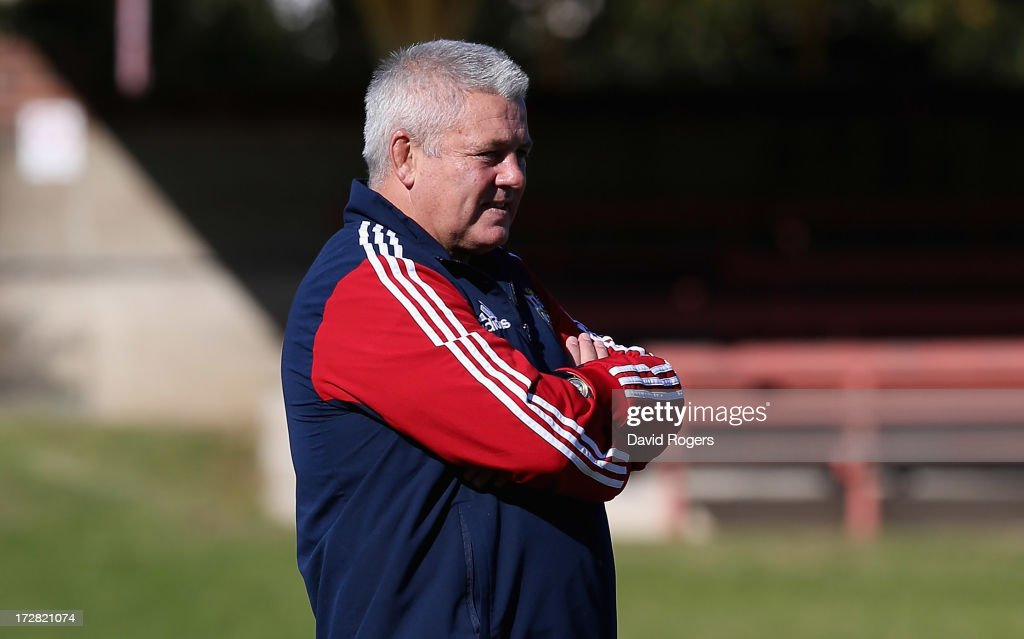 <a gi-track='captionPersonalityLinkClicked' href=/galleries/search?phrase=Warren+Gatland&family=editorial&specificpeople=686626 ng-click='$event.stopPropagation()'>Warren Gatland</a>, the Lions head coach looks on during the British and Irish Lions Captain's Run at North Sydney Oval on July 5, 2013 in Sydney, Australia.