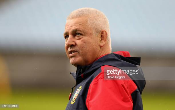 Warren Gatland the Lions head coach looks on during the British Irish Lions training session at Toll Stadium on June 2 2017 in Whangarei New Zealand