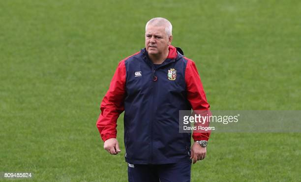 Warren Gatland the Lions head coach looks on during the British Irish Lions training session at QBE Stadium on July 6 2017 in Auckland New Zealand