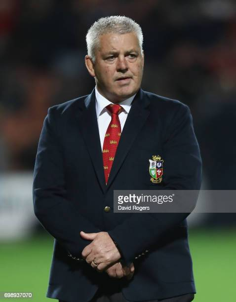 Warren Gatland the Lions head coach looks on during the match between the Chiefs and the British Irish Lions at Waikato Stadium on June 20 2017 in...