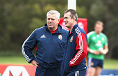 Warren Gatland the Lions head coach looks on with attack coach Rob Howley during a British Irish Lions training session held at the Noosa Dolphins...