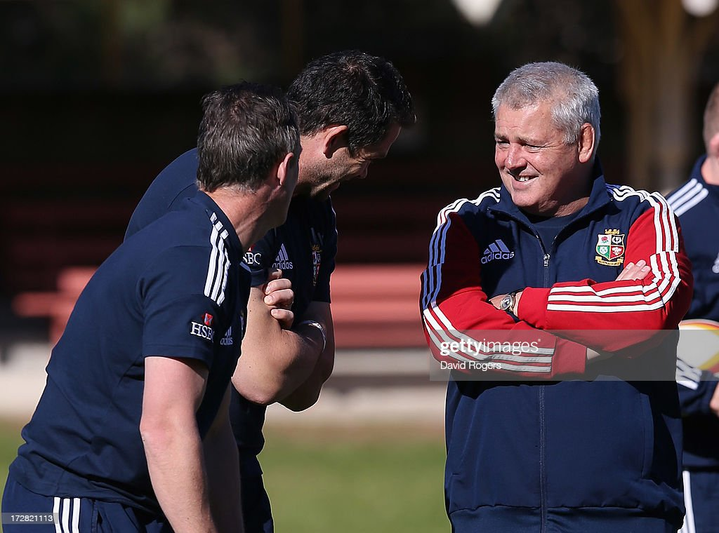 Warren Gatland,(R) the Lions head coach shares a joke with Andy Farrell, the defence coach and Rob Howley (L) the backs coach during the British and Irish Lions Captain's Run at North Sydney Oval on July 5, 2013 in Sydney, Australia.