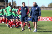 Warren Gatland the Lions head coach talks to back coach Rob Howley during the British Irish Lions captain's run held at the North Sydney Oval on June...