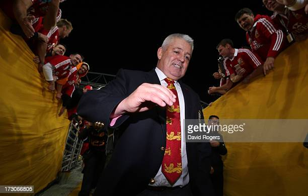 Warren Gatland the Lions head coach walks down the tunnel after his teams victory during the International Test match between the Australian...