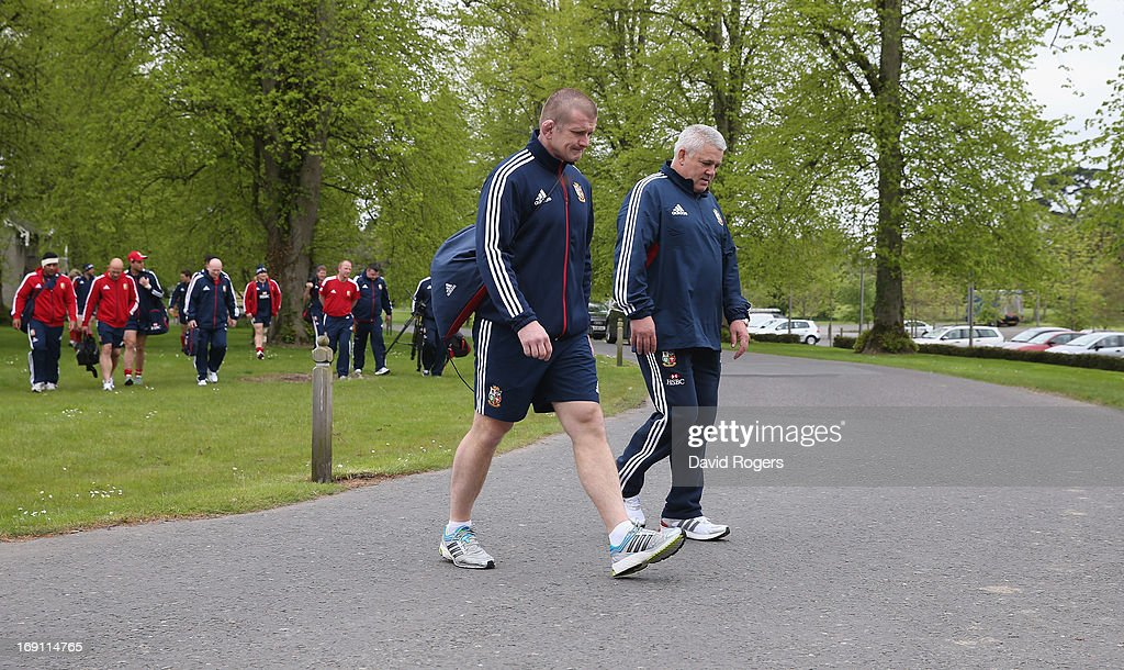 Warren Gatland (R) the Lions head coach walks to training with forwards coach Graham Rowntree during the British and Irish Lions media session held at Carton House on May 20, 2013 in Maynooth, Ireland.