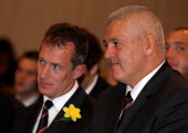 Warren Gatland the Wales coach and Rob Howley the Wales assistant coach look on during the official IRB Rugby World Cup 2011 Wales team welcome...