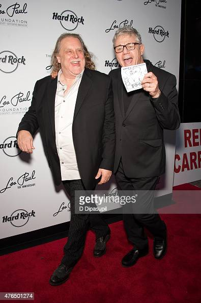 Warren Haynes and Steve Miller attend Les Paul's 100th Anniversary Celebration at the Hard Rock Cafe Times Square on June 9 2015 in New York City