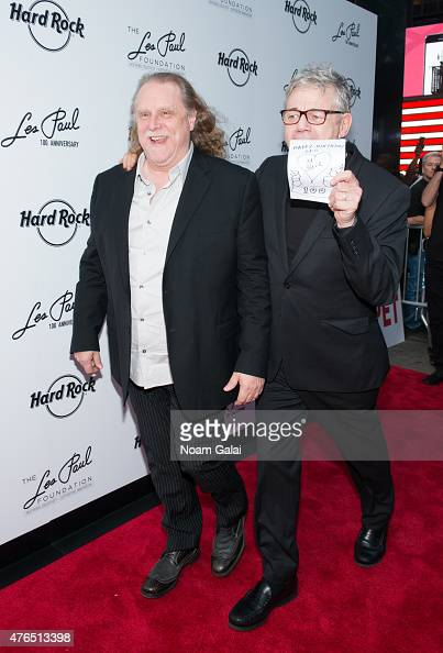 Warren Haynes and Steve Miller attend Les Paul's 100th anniversary celebration at Hard Rock Cafe Times Square on June 9 2015 in New York City