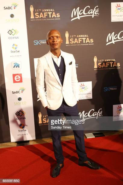 Warren Masemola poses on the red carpet during the South African Film and Television Awards at Sun City on March 18 2017 in Rustenburg South Africa...