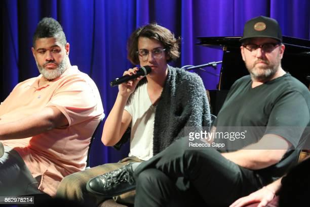 Warren 'Oak' Felder Teddy Geiger and busbee speak onstage at Chart Toppers Songwriters/Producers InTheRound Featuring Busbee Dave Bassett Warren...