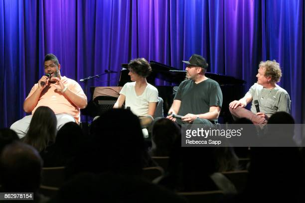 Warren 'Oak' Felder Teddy Geiger busbee and Dave Bassett speak onstage at Chart Toppers Songwriters/Producers InTheRound Featuring Busbee Dave...