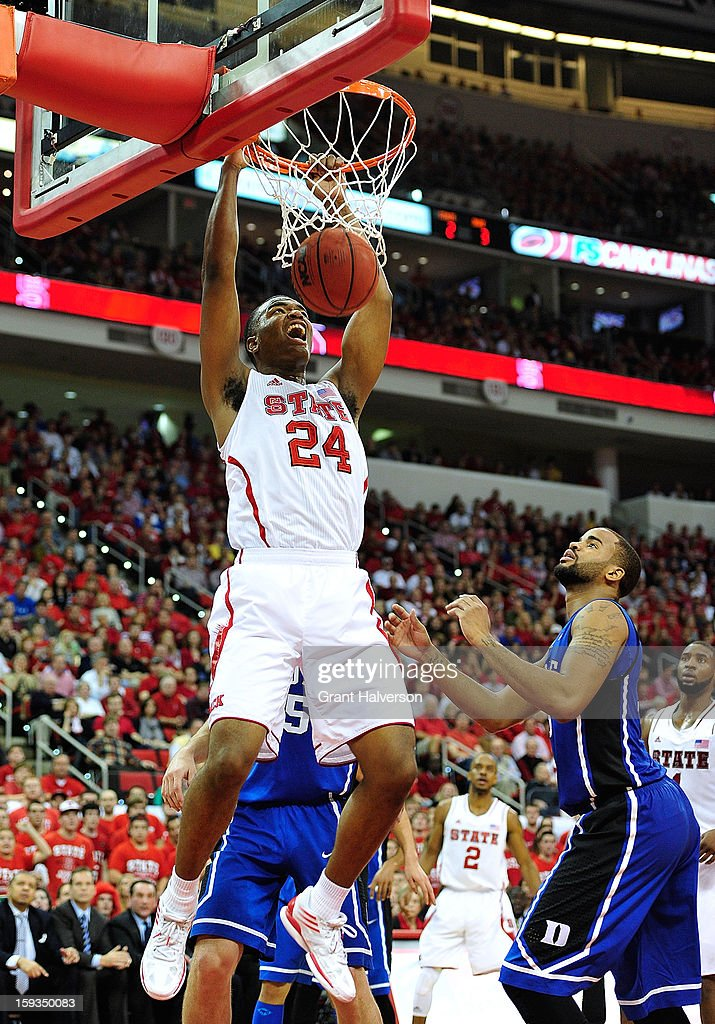 T.J. Warren #24 of the North Carolina State Wolfpack dunks against of the Duke Blue Devils during play at PNC Arena on January 12, 2013 in Raleigh, North Carolina.