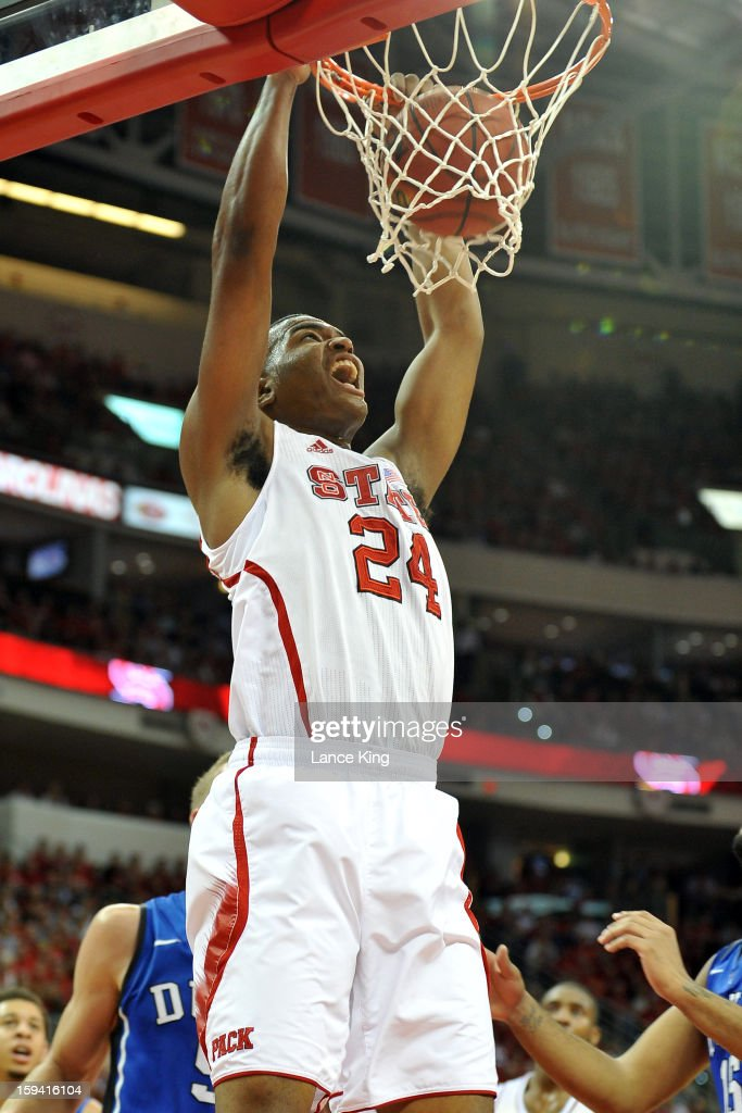 T.J. Warren #24 of the North Carolina State Wolfpack dunks against the Duke Blue Devils at PNC Arena on January 12, 2013 in Raleigh, North Carolina. NC State defeated Duke 84-76.