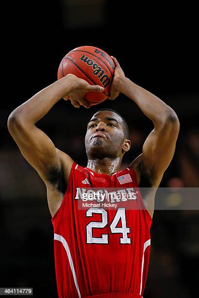 J Warren of the North Carolina State Wolfpack shoots a free throw during the game against the Notre Dame Fighting Irish at Purcel Pavilion on January...