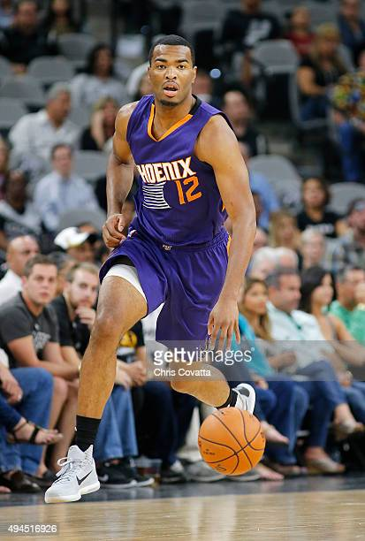 J Warren of the Phoenix Suns brings the ball up court against the San Antonio Spurs at the ATT Center on October 20 2015 in San Antonio Texas NOTE TO...