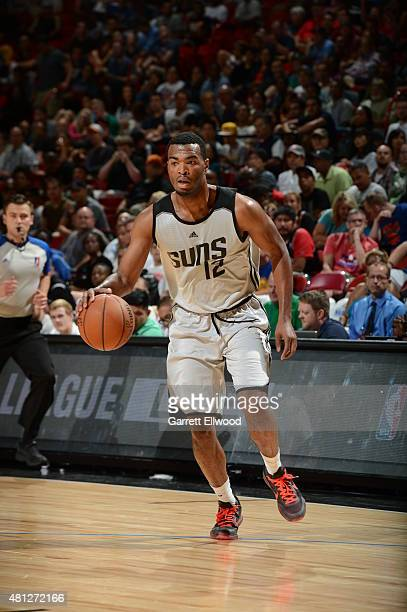 J Warren of the Phoenix Suns drives to the basket against the Chicago Bulls during the game on July 18 2015 at Thomas And Mack Center Las Vegas...