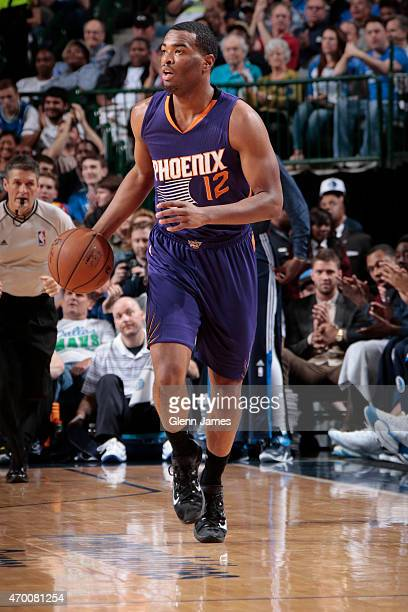 J Warren of the Phoenix Suns handles the ball against the Dallas Mavericks on April 8 2015 at the American Airlines Center in Dallas Texas NOTE TO...
