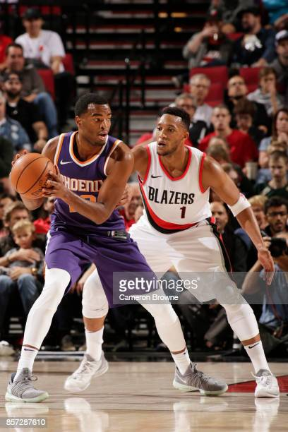 Warren of the Phoenix Suns handles the ball during a preseason game against the Portland Trail Blazers on October 3 2017 at the Moda Center in...