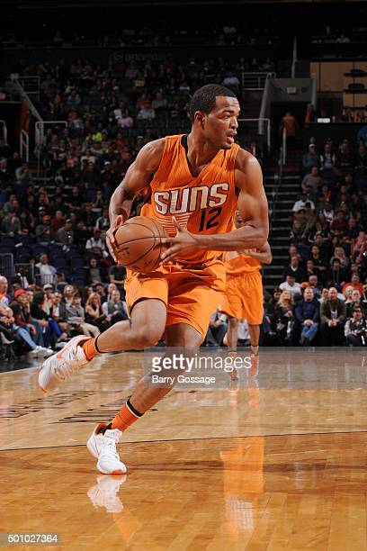 J Warren of the Phoenix Suns handles the ball during the game against the Portland Trail Blazers on December 11 2015 at US Airways Center in Phoenix...