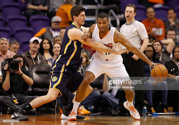 J Warren of the Phoenix Suns handles the ball during the NBA game against the Indiana Pacers at US Airways Center on December 2 2014 in Phoenix...