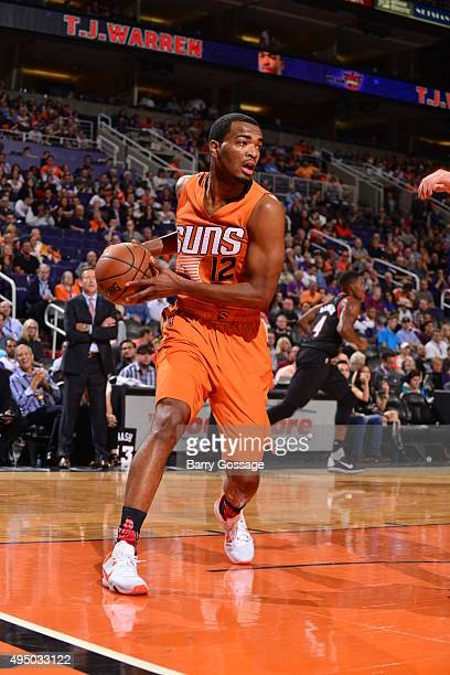 J Warren of the Phoenix Suns looks to move the ball against the Portland Trail Blazers on October 30 2015 at Toyota Center in Houston Texas NOTE TO...