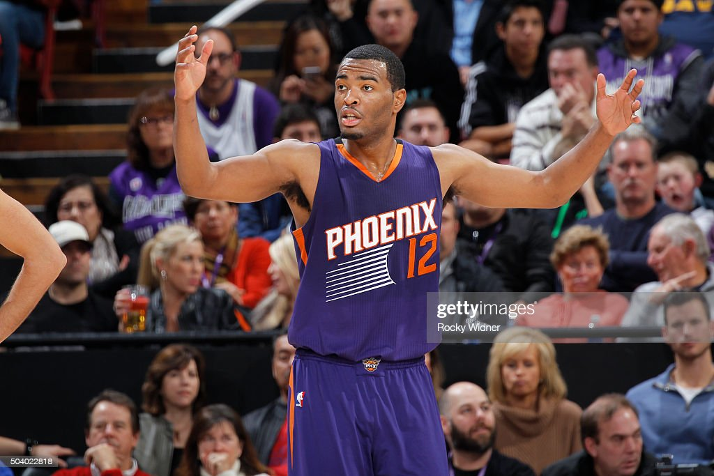 TJ Warren #12 of the Phoenix Suns reacts during the game against the Sacramento Kings on January 2, 2016 at Sleep Train Arena in Sacramento, California.
