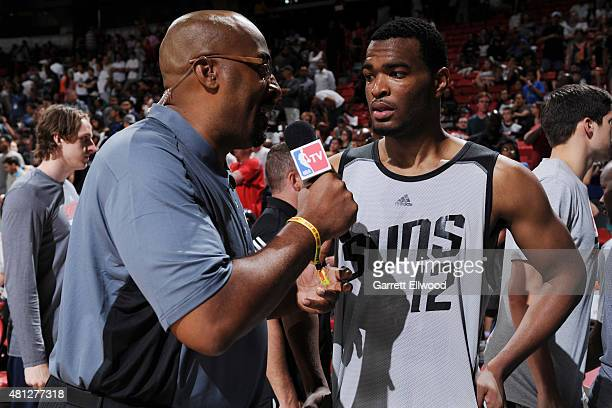 J Warren of the Phoenix Suns speaks to press after the win against the Chicago Bulls on July 18 2015 at Thomas And Mack Center Las Vegas Nevada NOTE...
