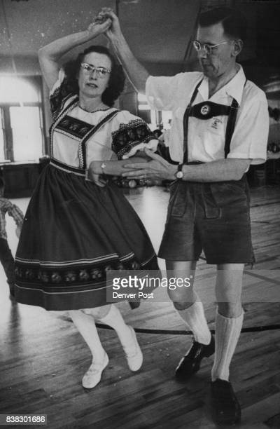Warren W Pettee 821 Winona Court and his wife perform an Assyrian dance at a folklore dancing party Credit Denver Post