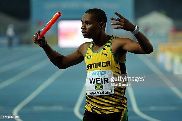 Warren Weir of Jamaica celebrates after winning the final of the men's 4 x 200 metres relay on day two of the IAAF/BTC World Relays Bahamas 2015 at...