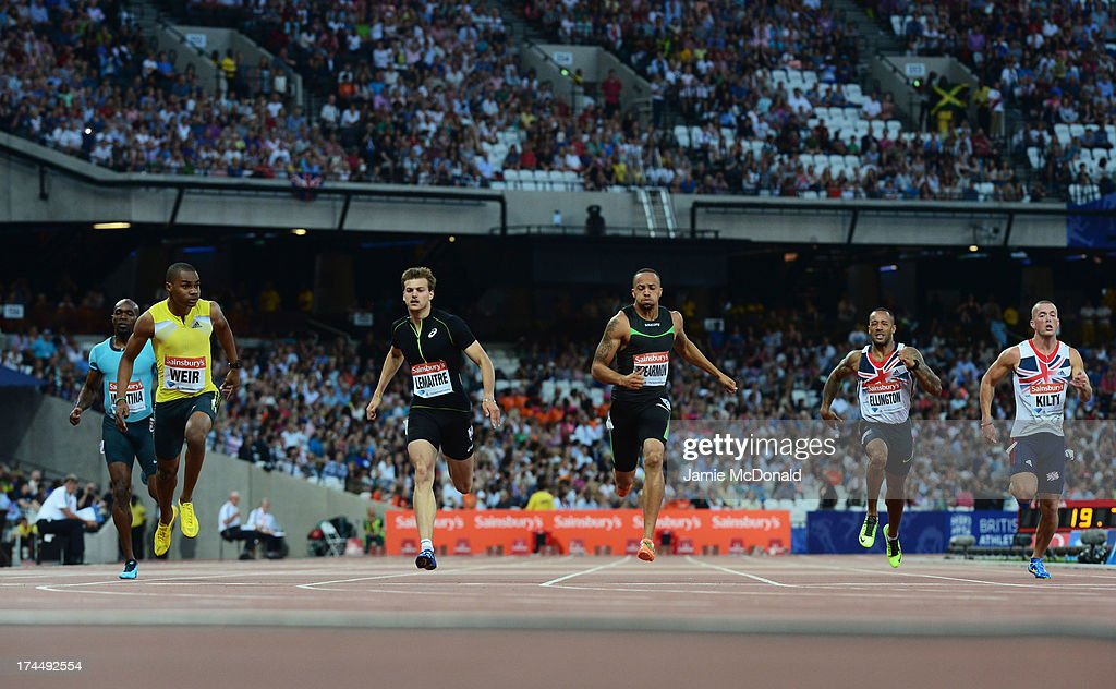 Warren Weir of Jamaica, Christophe Lemaitre of France, Wallace Spearmon of the United States, Gabriele Anderskon of the United States, James Ellington of Great Britain and Richard Kilty of Great Britain compete in the Men's 200m on day one during the Sainsbury's Anniversary Games - IAAF Diamond League 2013 at The Queen Elizabeth Olympic Park on July 26, 2013 in London, England.