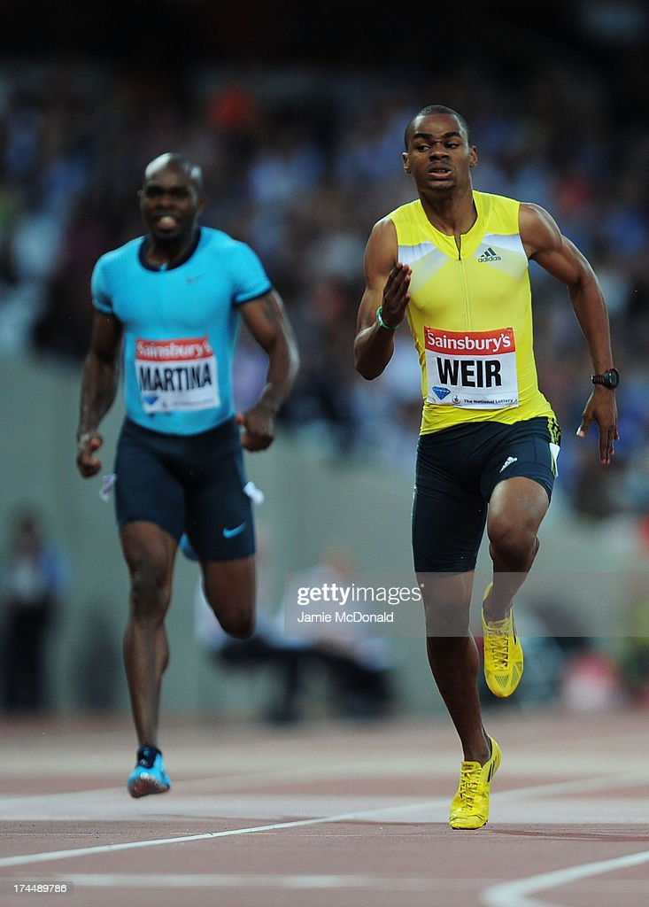 Warren Weir of Jamaica competes in the Men's 200m on day one during the Sainsbury's Anniversary Games - IAAF Diamond League 2013 at The Queen Elizabeth Olympic Park on July 26, 2013 in London, England.