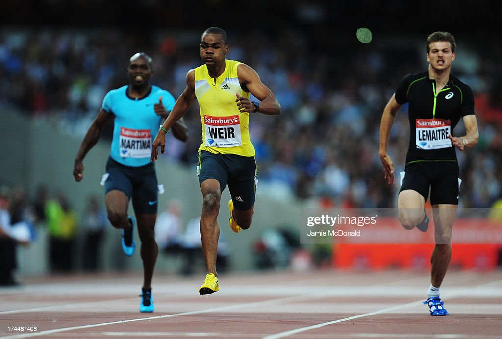 Warren Weir of Jamaica crosses the line first in the Men's 200m on day one during the Sainsbury's Anniversary Games - IAAF Diamond League 2013 at The Queen Elizabeth Olympic Park on July 26, 2013 in London, England.