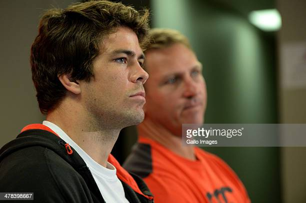 Warren Whiteley and Johan Ackermann during the Lions training session and press conference at Ellis Park Stadium on March 13 2014 in Johannesburg...
