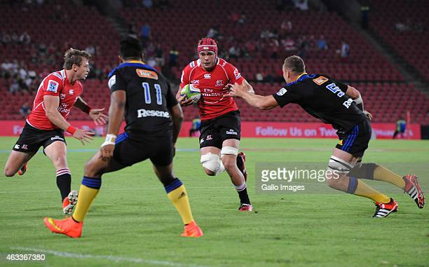 Warren Whiteley of the Lions attacks during the Super Rugby match between Emirates Lions and Hurricanes at Emirates Airline Park on February 13 2015...