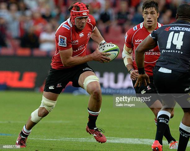 Warren Whiteley of the Lions attacks during the Super Rugby match between Emirates Lions and Cell C Sharks at Emirates Airline Park on April 11 2015...