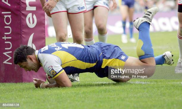 Warrington's Paul Rauhihi scores the fourth try during the engage Super League match at the Halliwell Jones Stadium Warrington