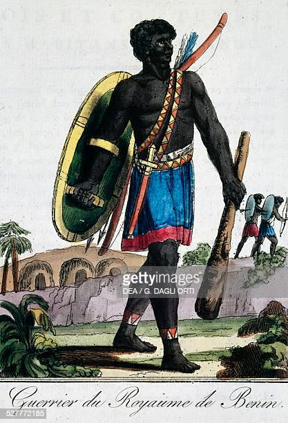 Warrior from Benin Africa engraving from Travelling encyclopaedia by Jacques Grasset de SaintSauveur France 18th century