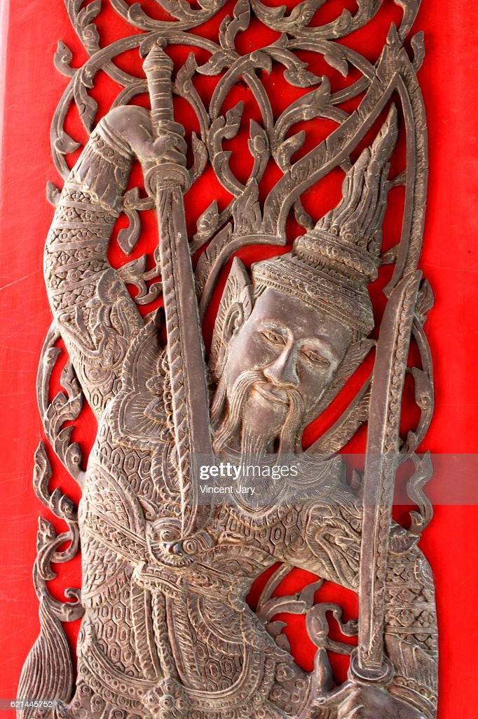 Warrior guard woodcut carving Bangkok Thailand : Photo