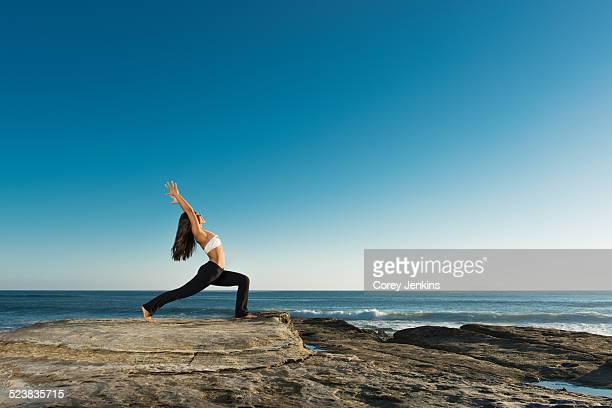 Warrior pose, Windansea beach, La Jolla, California