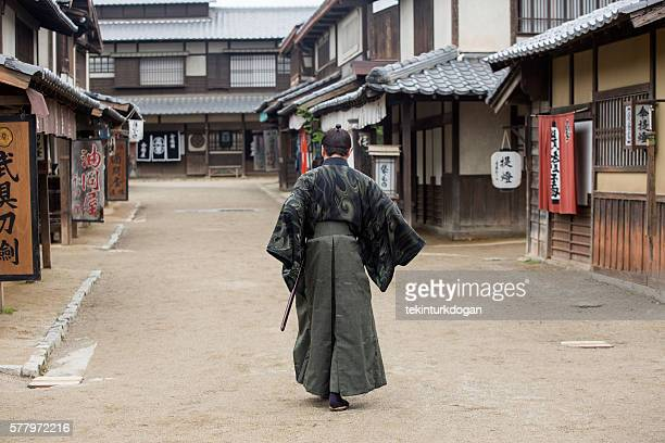 warrior samurai costume man in toei studios at kyoto japan