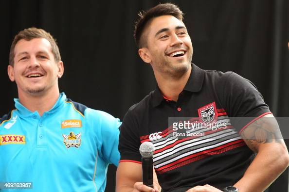 Warriors captain Shaun Johnson with Gold Coast Titans captain Greg Bird during the Auckland Nines Civic Reception at Aotea Centre on February 14 2014...